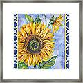 Audrey's Sunflower With Boarder Framed Print