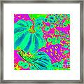 Autumn Harvest In Green And Purple - Pop Art Framed Print