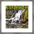 Autumn Scene With Waterfall In Forest Framed Print