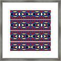 Aztec Blue Pattern Framed Print