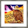 Bald Eagle With American Flag And Constitution Art Landscape Framed Print