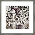 Bas-reliefs Of Khmer Daily Activities In The Bayon In Angkor Thom-cambodia  Framed Print