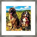 Bernese Mountain Dog And Leonberger Among Wildflowers Framed Print