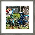 Bicycle With Basket Of Flowers Framed Print