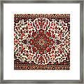 Bijar Red And Khaki Silk Carpet Persian Art Framed Print