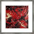 Black Cracks With Red Framed Print