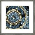 Blue And Gold Mechanical Abstract Framed Print
