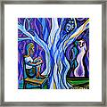 Blue And Purple Girl With Tree And Owl Framed Print