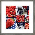 Blue Dishes And Fruit Collage Framed Print