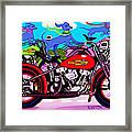 Blue Dogs On Motorcycles - Dawgs On Hawgs Framed Print