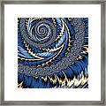 Blue Gold Spiral Abstract Framed Print