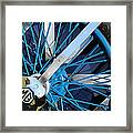 Blue Mg Wire Spoke Rim Framed Print