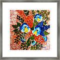 Blue Pansies Bouquet Framed Print