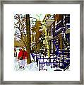 Blue Snowy Staircase And Birch Tree Montreal Winter City Scene Quebec Artist Carole Spandau Framed Print