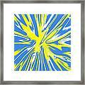 Blue Yellow White Swirl Framed Print