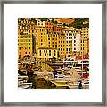 Boats At The Harbor, Camogli, Liguria Framed Print