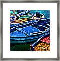 Boats Snuggling - Sicily Framed Print