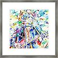 Bob Dylan Playing The Guitar - Watercolor Portrait.1 Framed Print