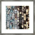 Bricks Of Turquoise And Gold Framed Print