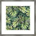 Bright Green Background With Tropical Framed Print