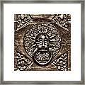 Bronze Lion Head And Ring On The Main Door Of The Town Hall In Dubrovnik Sepia Framed Print