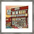 Brown Derby Van Horne Shopping Center Clay's Pharmacy Montreal Paintings City Scenes Carole Spandau Framed Print