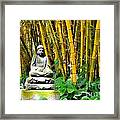 Buddha In The Bamboo Forest Framed Print