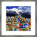 Buddhist Prayer Flags With Meili Framed Print