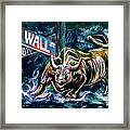 Bull Market Night Framed Print by Teshia Art