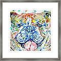 Bulldog - Watercolor Portrait Framed Print