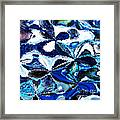 Bursts Of Blue And White - Abstract Art Framed Print by Carol Groenen