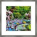 Butchart Gardens In The Rain Framed Print