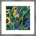 Butterfly And Wildflowers Spring Floral Garden Floral In Green And Yellow - Square Format Image Framed Print