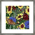 Butterfly Wildflowers Garden Oil Painting Floral Green Blue Orange-2 Framed Print