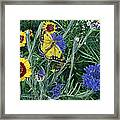 Butterfly Wildflowers Spring Time Garden Floral Oil Painting Green Yellow Framed Print