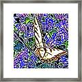 Butterfly With Purple Flowers 2 Framed Print