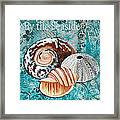 By The Seaside Original Coastal Painting Colorful Urchin And Seashell Art By Megan Duncanson Framed Print
