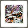 Cabins In The Snow Modern Expressionism Framed Print