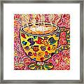 Cafe Latte - Coffee Cup With Colorful Coffee Cups Some Pink And Bubbles  Framed Print