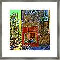 Cafe Window Corner Rue Fabre Near The Bicycle Stand Art Of Montreal Summer Street Scene  Framed Print