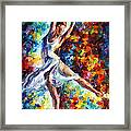 Candle Fire - Palette Knife Oil Painting On Canvas By Leonid Afremov Framed Print