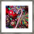 Candy Canes And Colorful Ornaments Framed Print