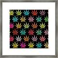 Cannabis Leaf Multi-coloured Pattern Framed Print