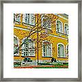 Cannon And Tulips Inside Kremlin In Moscow-russia Framed Print