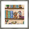 Cat Chrismas Shelves Framed Print