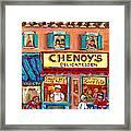 Chenoys Delicatessen Montreal Landmarks Painting  Carole Spandau Street Scene Specialist Artist Framed Print