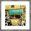 Chez Nick On Greene Avenue Montreal In Summer Cafe Art Westmount Terrace Bistros And Umbrellas Framed Print