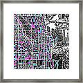 Chicago Map Drawing Collage 4 Framed Print