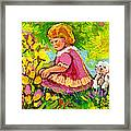 Children's Art - Little Girl With Puppy - Paintings For Children Framed Print