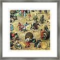 Childrens Games Kinderspiele Detail Of Bottom Section Showing Various Games, 1560 Oil On Panel Framed Print
